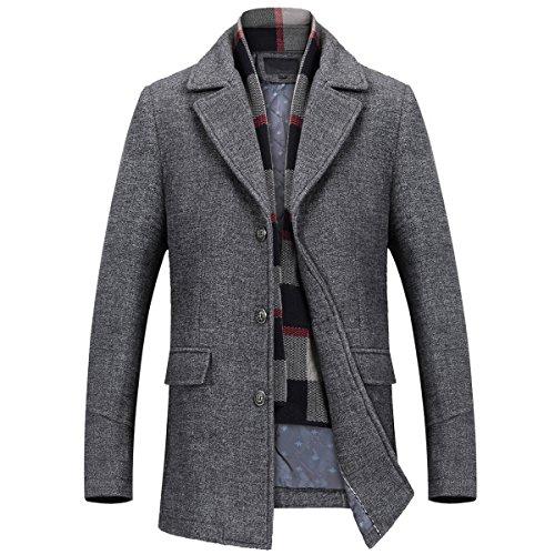 Mirecoo Herren warm Wollmantel Kurzmantel Winter Jacke Business