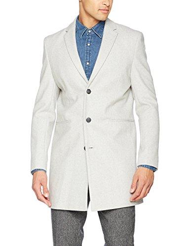 New Look Herren Mantel Smart Wool, Grau (Light Grey 2), Large (Hersteller Größe: 53)
