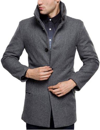 SSLR Herren Einreiher Slim Wolle Mäntel (Medium, Grau)