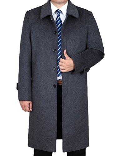 Vogstyle Herren Mantel Neu Wolljacke Lang Umlegekragen Wollmantel Warm Trenchcoat Business Windbreaker Überzieher Style 1 Grau XXL