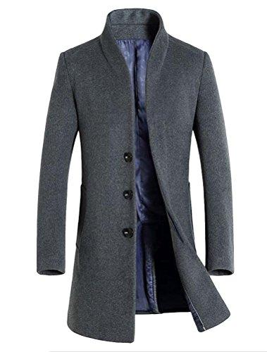 Vogstyle Herren Winter Slim Fit Wollmantel Business Überzieher Schlank Lange Windbreaker Jacken Grau XL