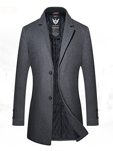 YOUTHUP Herren Gesteppte Wollmishcung Mantel Slim Fit Grau S