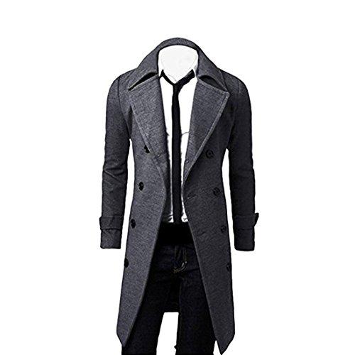 YYF Herrenmantel Lang Herbst Winterjacke Slim Fit warm Mantel Trenchcoat Outfit Grau
