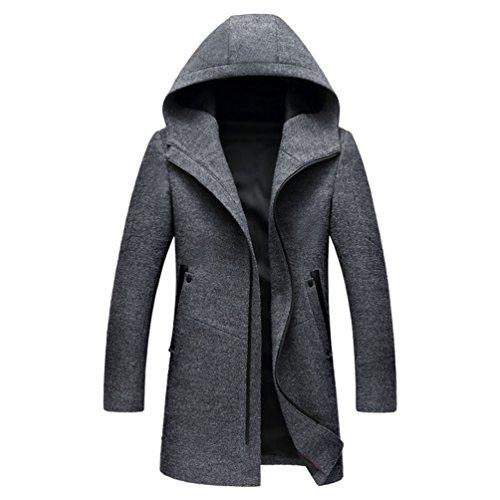 Zhiyuanan Männer Modische Freizeit Mantel Zipverschluss Vorne Revers Lange Ärmel Mäntel Slim Fit Herrenmantel Mit Kapuze Grau L