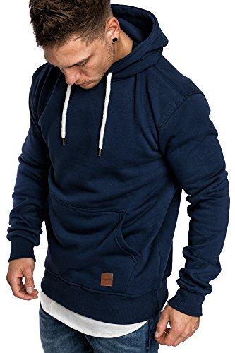 Amaci&Sons Herren Basic Kapuzenpullover Sweatjacke Pullover Hoodie Sweatshirt 4023 Navyblau XXL