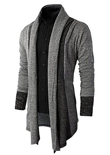 Brinny Herren Strickjacke Open Jacke Lang Cardigan Knit Mantel Strick Jacke Hoodie Hoody Sweatshirt Sweatblazer, Grau, DE M (Hersteller Größe L)