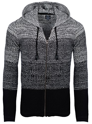 Carisma Herren - Strickjacke 7397 Streetwear Menswear Autumn/Winter Knit Knitwear Sweater Hoodie Jacket CRSM CARISMA Fashion, M, schwarz, M, Black