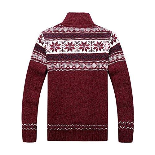 GWELL Herren Strickjacke mit Fleece Jacquard Verdickte Sweater Cardigan Strickpullover mit Reißverschluss Stehkragen Rot XL