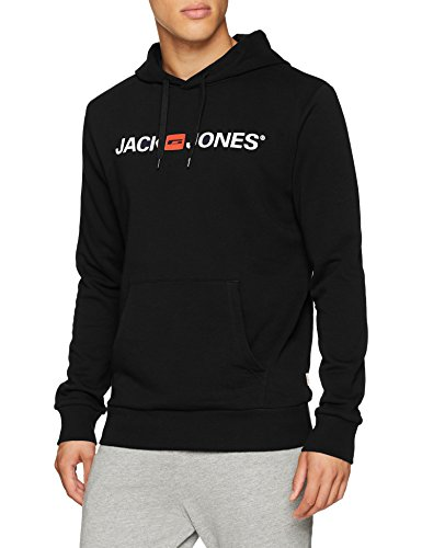 JACK & JONES Herren Kapuzenpullover JJECORP Logo Sweat Hood NOOS, Schwarz (Black Detail:Reg Fit), Medium