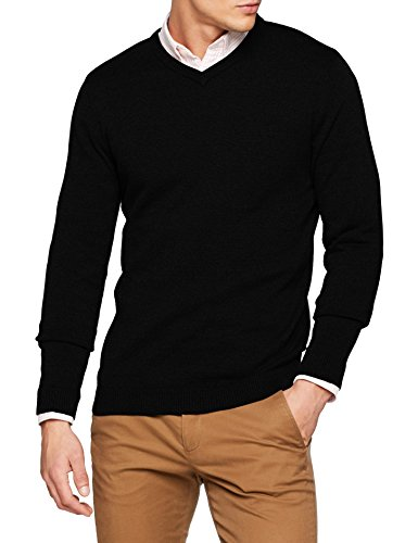 JACK & JONES Herren Pullover JJEBASIC Knit V-Neck NOOS, Schwarz Black, Medium