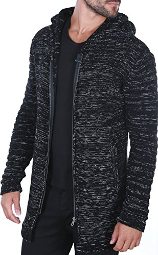 Karl's People People Herren Strickjacke mit Kapuze K-115 M Black