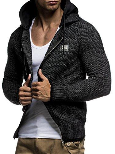 LEIF NELSON Herren Kapuzenpullover Strickjacke Hoodie Pullover mit Kapuze Sweatjacke Sweater Zipper Sweatshirt LN7055; Größe S, Schwarz-Anthra