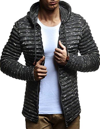 LEIF NELSON Herren Pullover Hoodie Strickjacke Kapuzenpullover Jacke Hoody Sweatjacke Zipper Sweatshirt Longsleeve LN20724; Größe L, Anthrazit