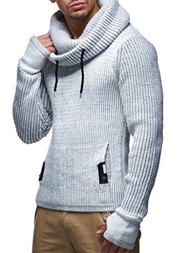 LEIF NELSON Herren Pullover Hoodie Strickpullover Longsleeve Sweater Sweatshirt Zipper LN5060; Größe XL, Grau