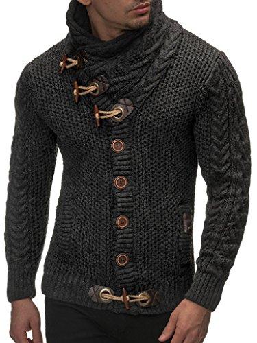 LEIF NELSON Herren Strickjacke Pullover Hoodie Jacke Sweatjacke Sweatshirt Sweater Pulli Winterjacke Freizeitjacke LN4195 (Large, Anthrazit)