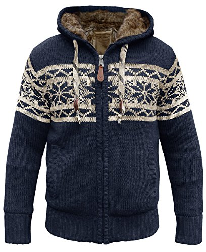 Norweger Strickjacke m. Fell blau - L