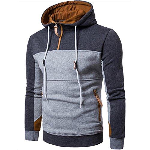 Pullover Herren Mode Patchwork Sweatshirt Lange Ärmel Mantel Outwear (L, Tief Grau)