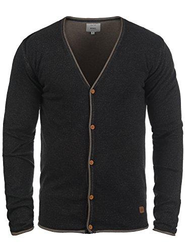 Redefined Rebel Maxen Herren Strickjacke Cardigan Feinstrick Mit V-Ausschnitt und Knopfleiste Aus 100% Baumwolle, Größe:XXL, Farbe:Black