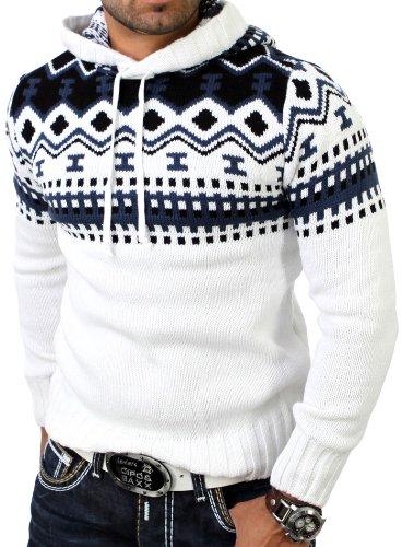 Reslad Herren Grobstrick Pullover Norweger Winter Kapuzenpullover RS-3013 Weiß L