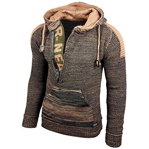 Rusty Neal Top Herren Winter Kapuzenpullover Pulli Sweatshirt Jacke RN-13277, Größe:XL, Farbe:13290-1 Khaki/Camel