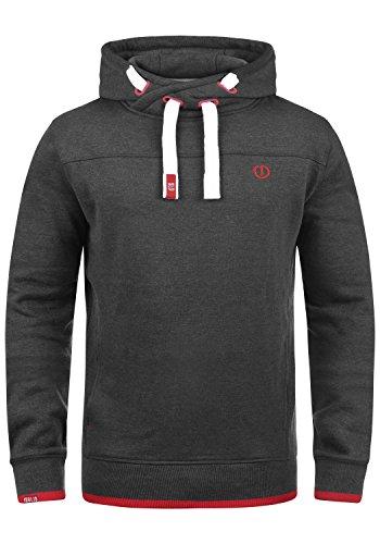 !Solid Benjamin Hood Herren Kapuzenpullover Hoodie Pullover mit Kapuze Cross-Over-Kragen und Fleece-Innenseite, Größe:L, Farbe:Med Grey (8254)