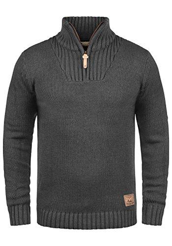 !Solid Petro Herren Winter Pullover Strickpullover Troyer Grobstrick mit Stehkragen und Reißverschluss, Größe:L, Farbe:Dark Grey Melange (8288)