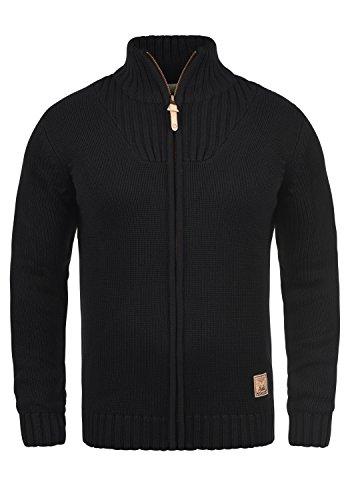 !Solid Poul Herren Strickjacke Cardigan mit Stehkragen aus Hochwertiger Baumwollmischung, Größe:XL, Farbe:Black (9000)