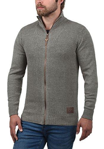 !Solid Tristian Herren Strickjacke Cardigan Feinstrick mit Stehkragen und Reißverschluss, Größe:L, Farbe:Grey Melange (8236)