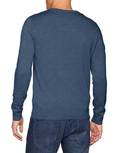 TOM TAILOR Herren Pullover Basic Crew-Neck Sweater, Blau (Bleached Blue Melange 6495), M