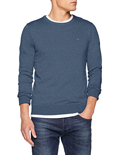 TOM TAILOR Herren Pullover Basic Crew-Neck Sweater, Blau (Bleached Blue Melange 6495), M