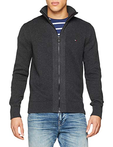 Tommy Hilfiger Herren Strickjacke Classic Heavy Gauge Zip Through, Grau (Charcoal Htr 093), XX-Large
